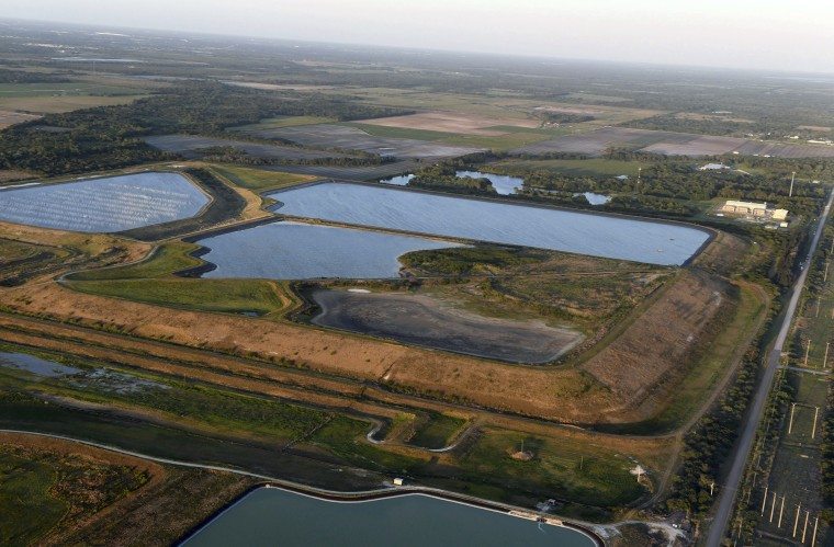 Image: A reservoir near the old Piney Point phosphate mine on April 3, 2021 in Bradenton, Fla.