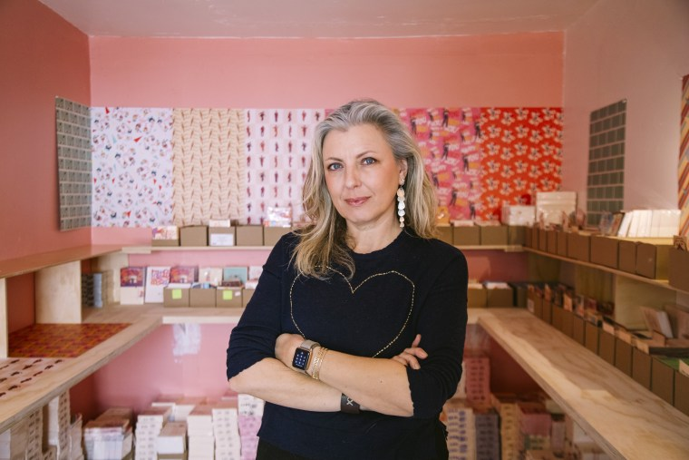 Olga Krigman, the founder and owner of Offensive+Delightful Greeting Cards, in her Los Angles office.