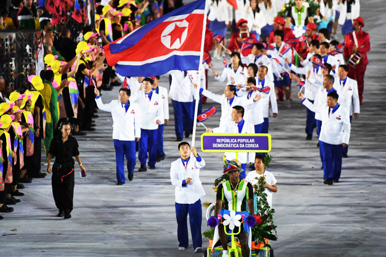 North Korea's delegation during the opening ceremony of the Rio 2016 Olympic Games at the Maracana stadium in Rio de Janeiro, August 5, 2016.