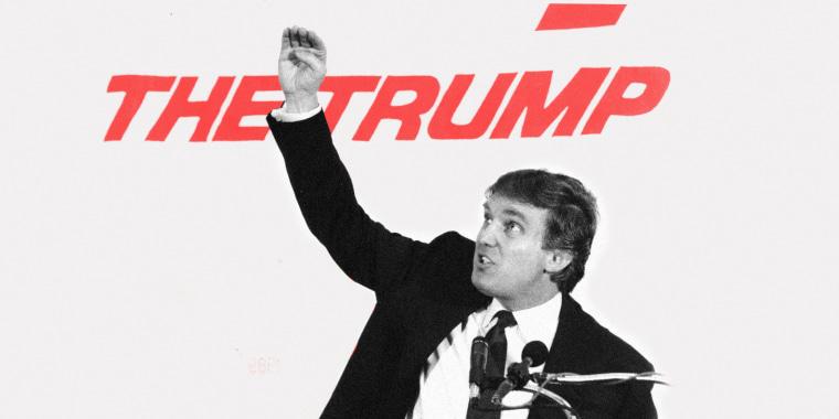 "Image: Young Donald Trump speaking at a podium. Text behind him partially reads, ""The Trump\"""