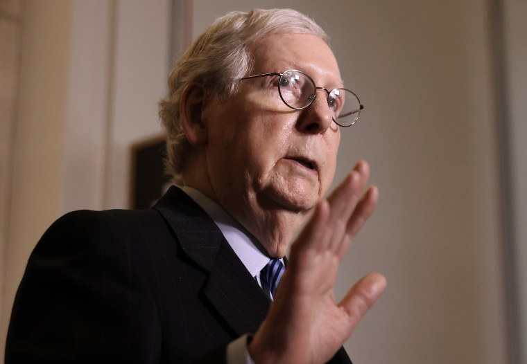 Image: Senate Minority Leader Mitch McConnell talks to reporters on Capitol Hill March 16, 2021.