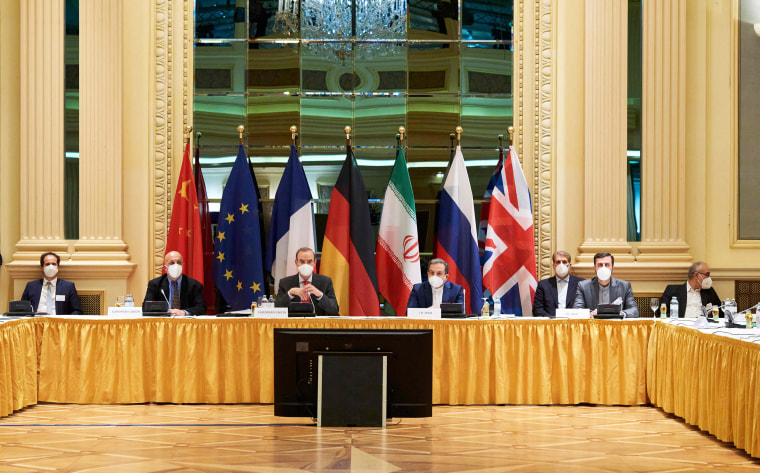 Diplomats of the European Union, China, Russia and Iran participate in talks at the Grand Hotel in Vienna on April 6, 2021.