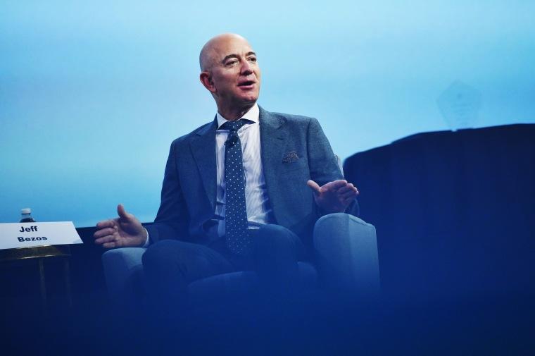 Jeff Bezos speaks in Washington on Oct. 22, 2019.