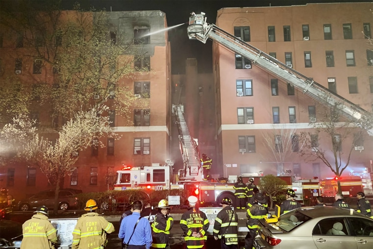 Image: FDNY responds to a building fire in Queens, NY on April 6, 2021