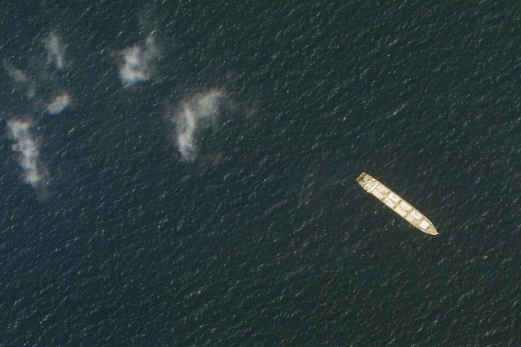 This satellite photo shows the Iranian cargo ship MV Saviz in the Red Sea off the coast of Yemen on Oct. 1, 2020.