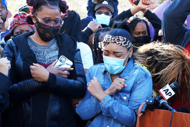 DMX's fianc?e Desiree Lindstrom, right, and ex-wife Tashera Simmons, left, attend a vigil for the rapper outside White Plains Hospital on April 5, 2021, in New York.
