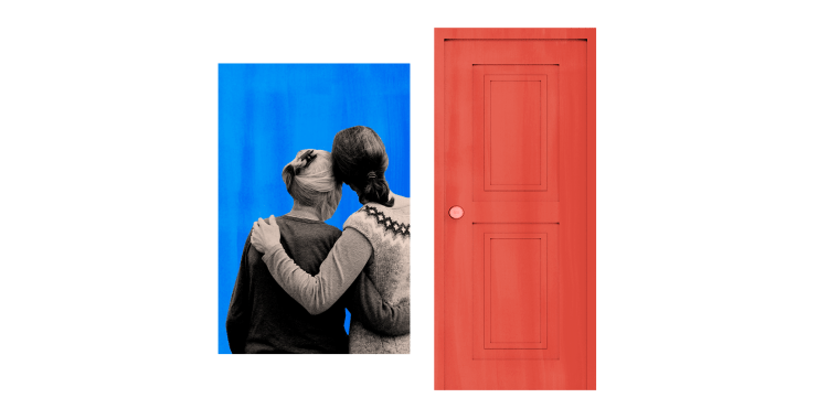 Image: Illustration of a mother and daughter hugging in a window next to a door.