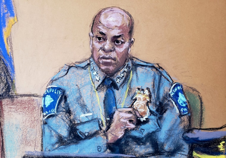 Image; Minneapolis Police Chief Medaria Arradondo testifies at the trial of former police officer Derek Chauvin on April 5, 2021.