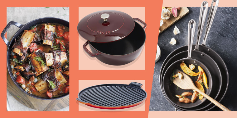 Illustration of the Le Creuset 12.5-Inch Bistro Grill, image of the All-Clad Nonstick Set of 3 Skillets, Staub Heritage 3.5-Quart All-Day Pan with food in it and the Staub 3.5-Quart Essential Oven