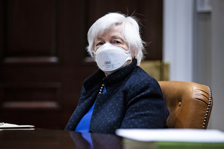 Janet Yellen, Treasury secretary, wears a protective mask during a briefing with President Joe Biden in the Roosevelt Room of the White House on March 5, 2021.