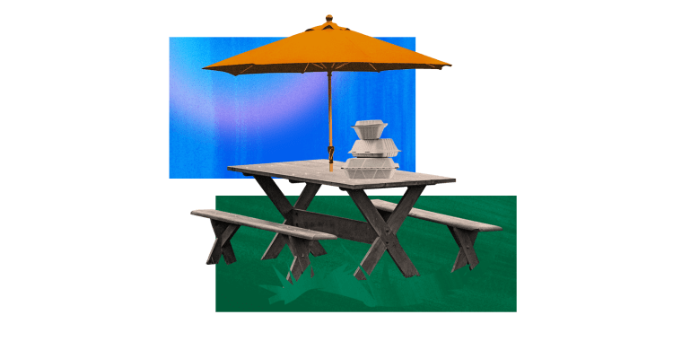 Image: Illustration of an outdoor dining set up with umbrella and takeout containers.