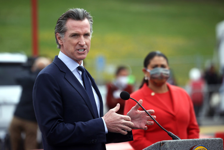Image: California Governor Gavin Newsom Holds Covid Briefing In San Francisco