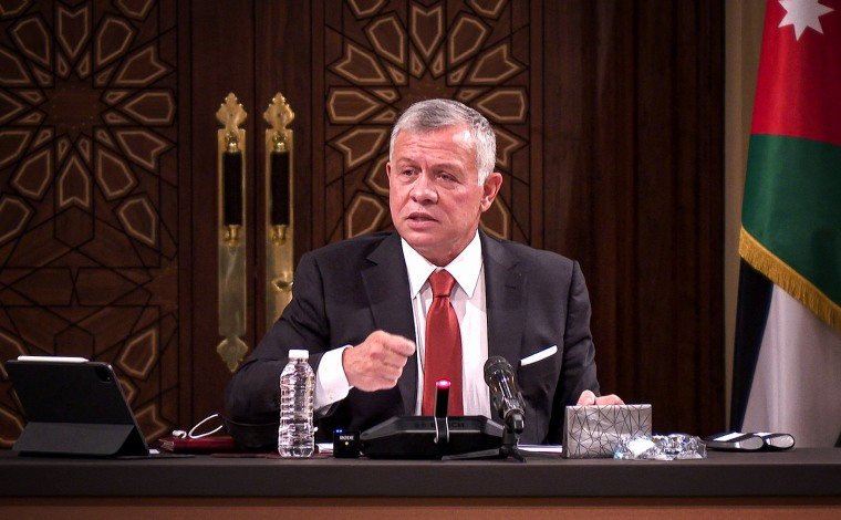 Jordanian King Abdullah II speaks during a meeting at the House of Representatives in the capital Amman on March 23, 2021.