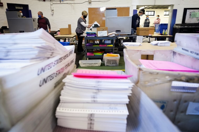 Chester County election workers scan mail-in and absentee ballots for the 2020 election on Nov. 4 in West Chester, Pa.