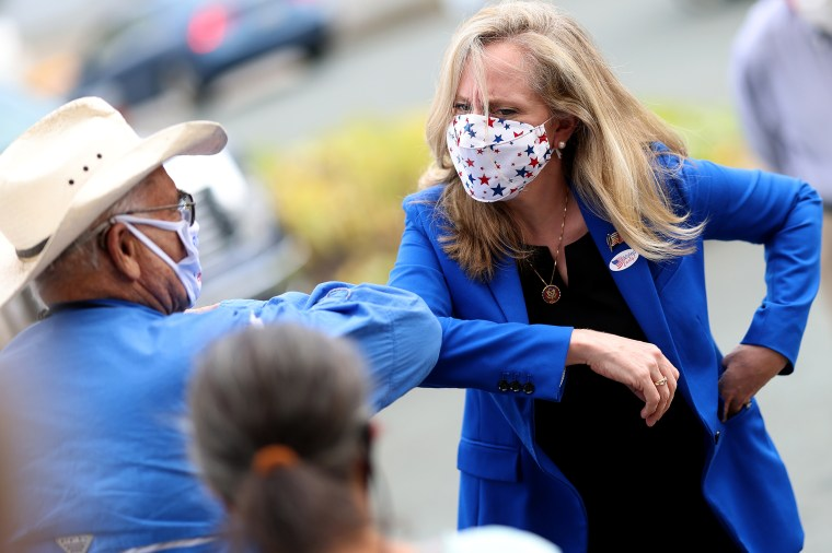 Image: Rep. Abigail Spanberger, D-Va., greets supporters outside the Orange County Registrar's office in Orange, Va., on Sept. 18, 2020.