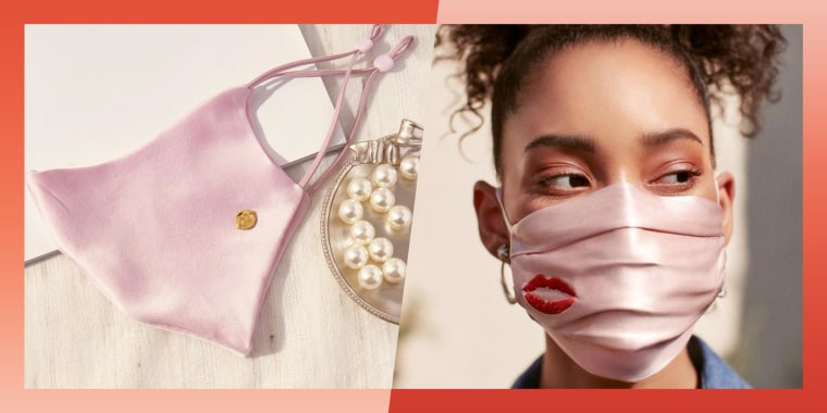 Illustration of a pink Claire & Clara Washable Silk Face Mask laying flat and a Woman wearing a Slip Double-Sided Silk Face Covering with a red mouth on it. Best silk masks in 2021.