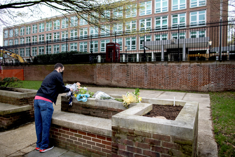 Image: Flowers laid outside the British embassy in U.S. after Britain's Prince Philip death