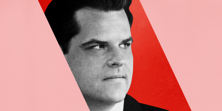 Image: Illustration of Matt Gaetz inside a block of red surrounded by pink.
