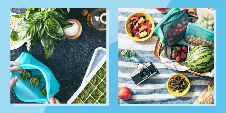 Illustration of a person putting frozen spinach cubes in a blue stashed bag and an overhead image of a picnic, on a blue and white blanket, with snacks in mult-sized Stasher reusable bags