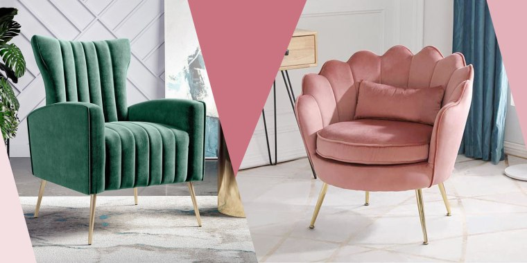 Illustration of the Handy Living Gloucester Channel Tufted Armchair in green from Target and the Modern Accent Velvet Chair in pink