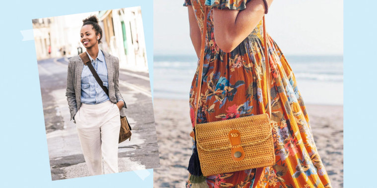 Illustration of a Woman walking down the street with a cross body bag and a Woman at the beach with the MadeTerra Oval Straw Bag Purse