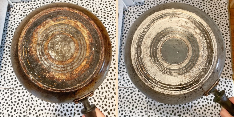 Before and After Image of a rusty pot, after using Pink Stuff cleaner on it