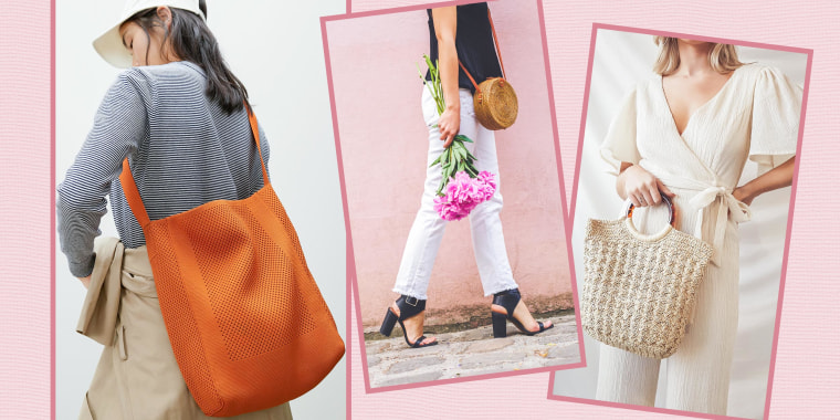 Illustration of a Woman holding flowers and wearing a brown cross body bag, Woman holding the Everlane The Do-It-All Tote, and another Woman holding the Lulus Scenic Tour Beige Woven Tote Bag