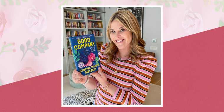 "Illustration of Jenna Bush Hager holding her April Read With Jenna book pick ""Good Company"" by Cynthia D'Aprix Sweeney"