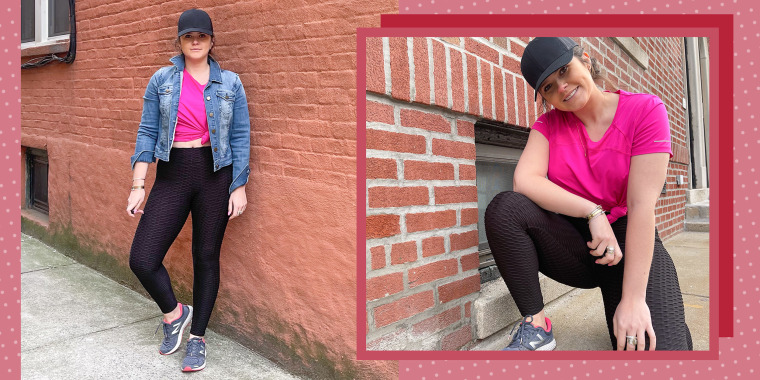 Illustration with two images of Casey DelBasso outside, wearing a pink shirt and the famous black tik-tok leggings