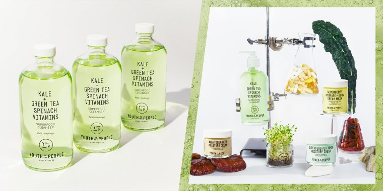 Illustration of the Youth To The People Superfood Cleanser in a lab setting surrounded by bottles, and an image of 3 Superfood Cleanser Bottles. Learn about Youth to the People, their sustainability efforts and see clean skin care products such as cleanse