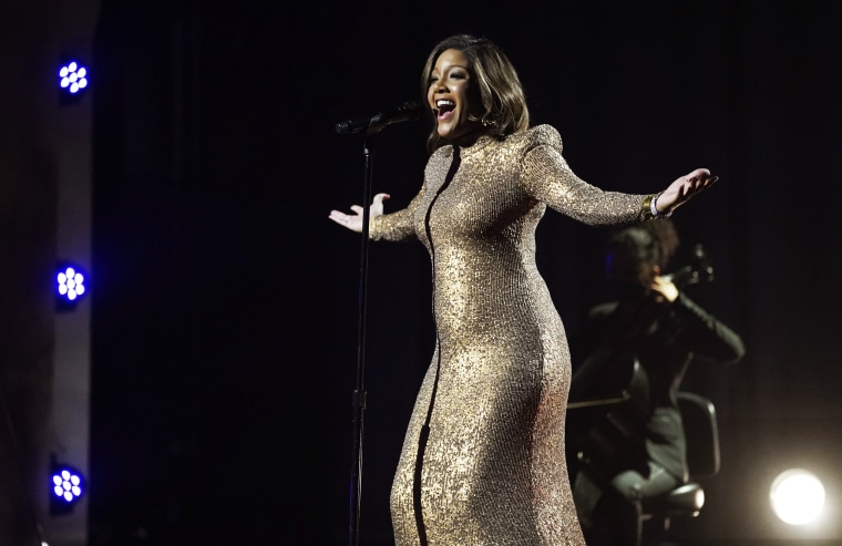 """Mickey Guyton performs \""""Black Like Me\"""" at the 63rd Grammy Awards at the Los Angeles Convention Center on March 9, 2021."""