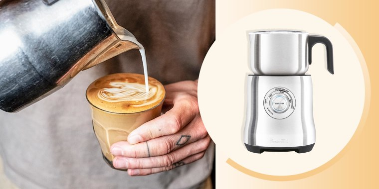 Illustration of someone pouring milk from their milk brother into a cup of coffee and the Breville Milk Frother. The Breville Milk Cafe milk frother boosted my coffee game to a whole new level. I can make barista-level coffee, cappuccino and even hot choc