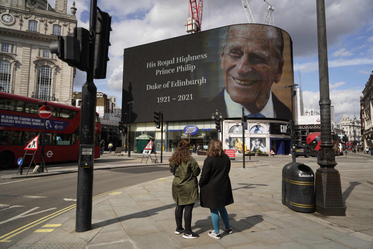 Image: The electronic billboard at Piccadilly Circus displays a tribute to Britain's Prince Philip, Duke of Edinburgh in central London