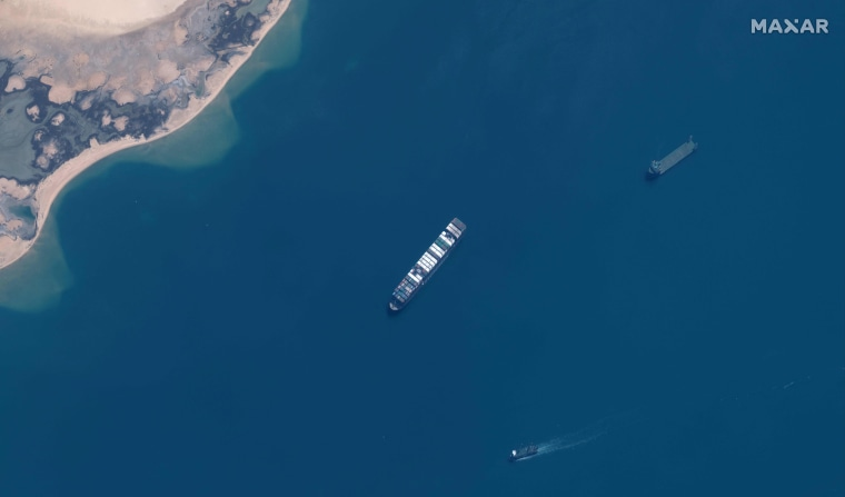 Image: The MV Ever Given container ship in the Great Bitter Lake area of the Suez Canal