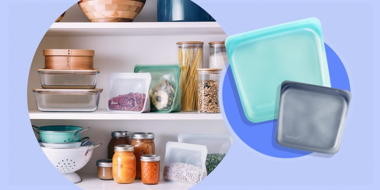 Illustration of Stasher bags packaging with food household, sitting amongst pantry items and two Stasher bags in grey and blue