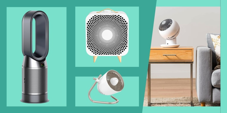 Illustration of the Blueair Blue Pure Purifying Fan, Dyson Pure Cool HP04 Purifying Heater + Fan in black, Woozoo fan on a table side and the Pivot Personal Air Circulator Fan