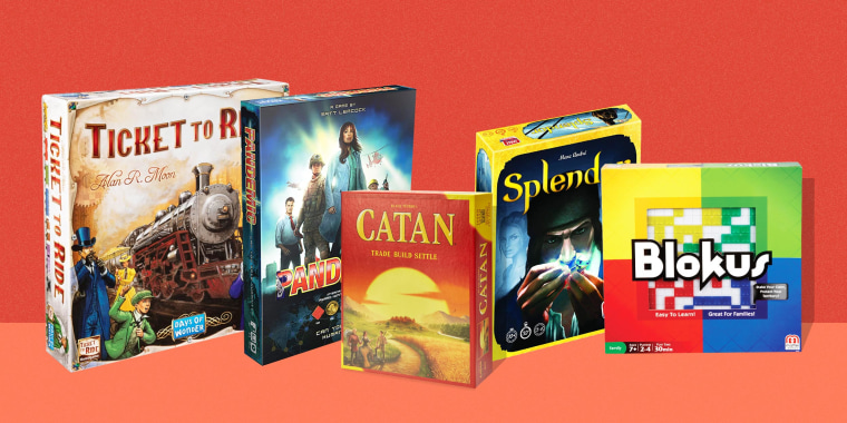 Illustration of 4 board games, Ticket To Ride, Pandemic, Catan and Blokus