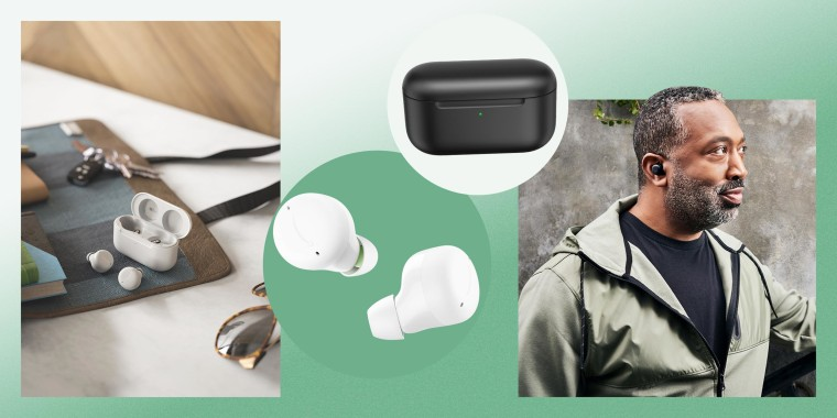 Illustration of a Man wearing the Amazon Echo 2nd Generation ear buds in black, a lifestyle of the earbuds in white, and the earbuds and case. The new Amazon Echo Buds have an updated compact design and active noise cancellation. Get a discount on Echo Bu