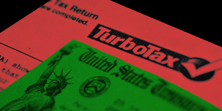Photo illustration of the payment cheque from the US Treasury and a sheet with the Turbo Tax logo.