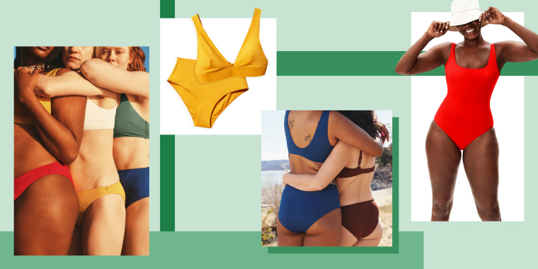 Illustration of different types of Everlane bathing suits, that are made ade from recycled plastic. Everything you need to know about Everlane's swimwear collection. Shop the sustainable swimwear including one-piece swimsuits, bikinis and more