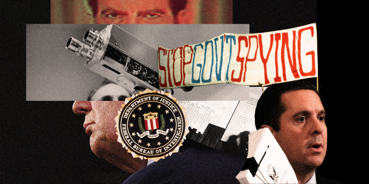 """Photo collage with a close up of Richard Nixon's eyes, a hand holding an old TV camera, the FBI stamp, a banner that reads,\""""Stop Govt Spying\"""", Devin Nunes and a cropped profile of Donald Trump at the back."""