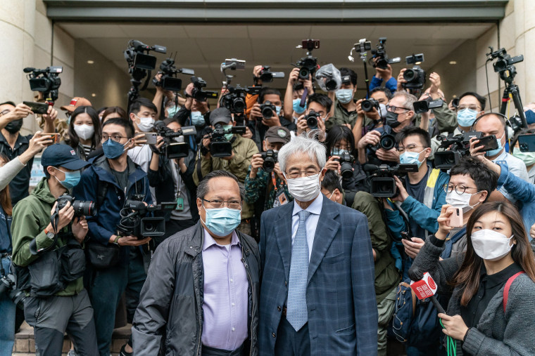 Image: Former lawmaker and barrister Martin Lee and, former lawmaker Albert Ho arrive at West Kowloon court ahead of a sentencing hearing