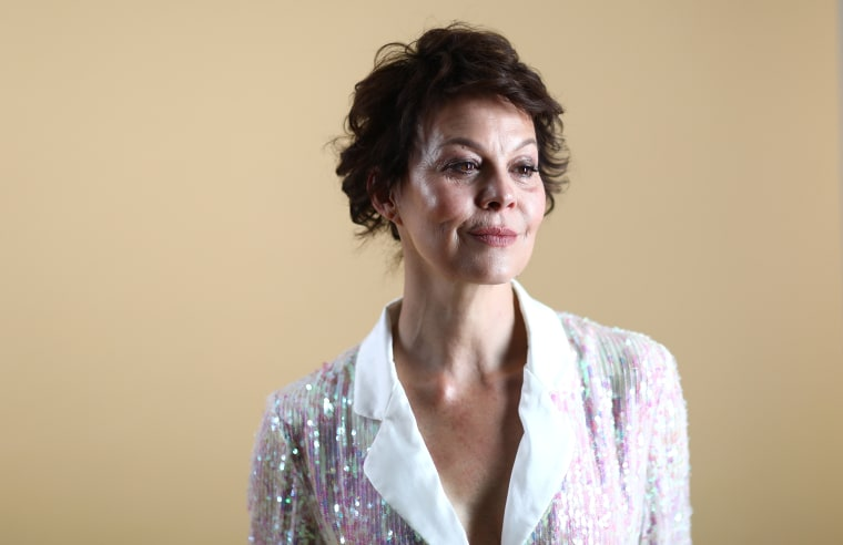 Helen McCrory backstage ahead of the Temperley London show during London Fashion Week on Sept. 15, 2018 in London.