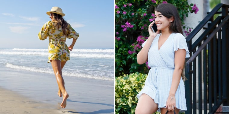 Images of two woman wearing different color and styles of rompers outside