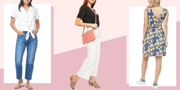 Illustration of a Woman wearing the Meander Tie Front Shirt, Women in the  Porch Song Dress and Woman wearing a pink Martha Crossbody