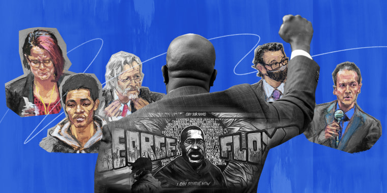 Photo collage of a mural with George Floyd's name and portrait overlaying the back of a person with their fist up along with courtroom sketches from the trial of Derek Chauvin
