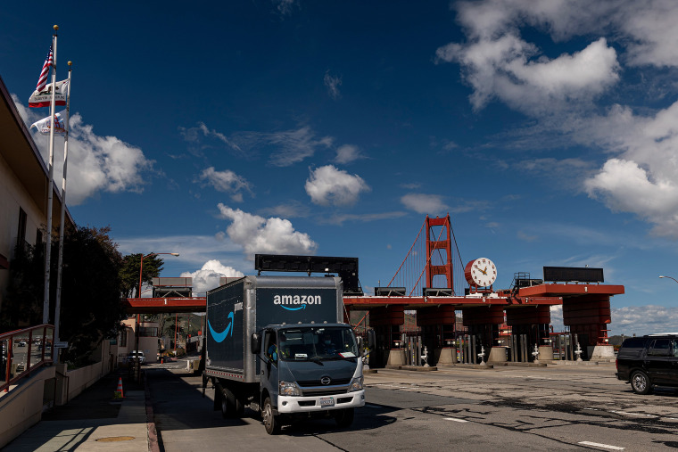 Image: An Amazon.com truck passes through the toll plaza after crossing the Golden Gate Bridge in San Francisco on March 11, 2021.