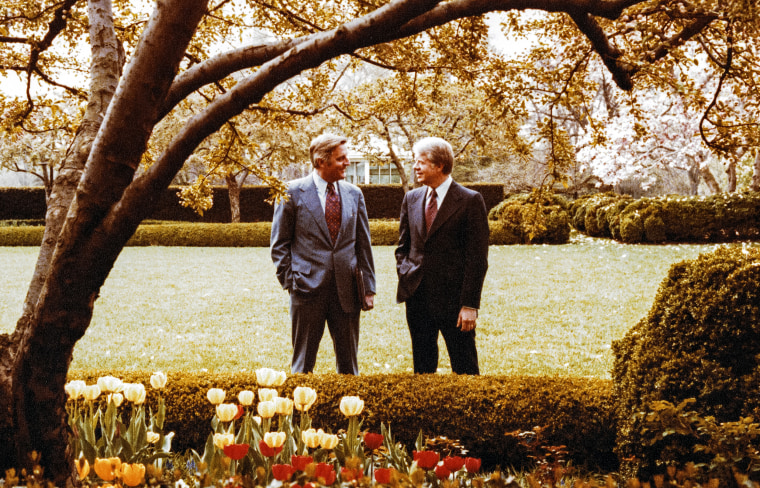 Image: Vice President Walter Mondale and President Jimmy Carter in the Rose Garden at the White House in 1978.