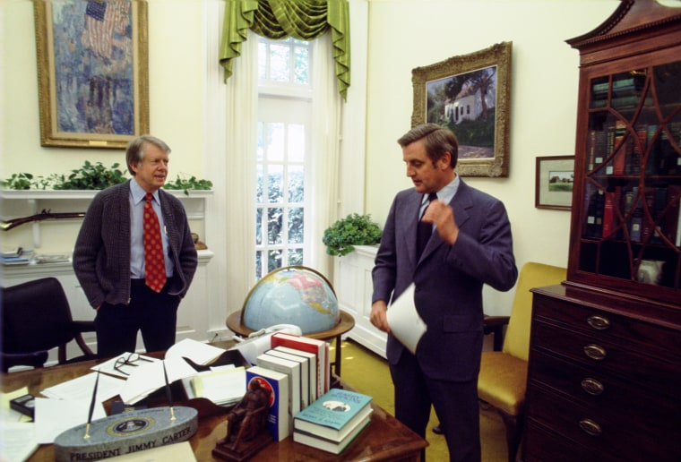President Jimmy Carter and Vice President Walter Mondale in the President's Private Office