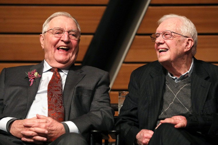 Image: Walter Mondale celebrates birthday with former President Jimmy Carter